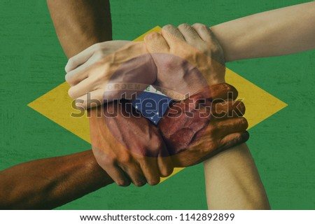 Brazil flag multicultural group of young people integration diversity isolated #1142892899
