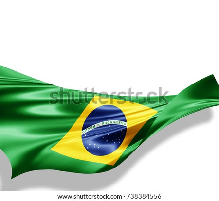 Brazil flag of silk with copyspace for your text or images and white background -3D illustration