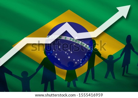 Brazil flag on a background of a growing arrow up and people with children holding hands. Demographic growth of the country, tourists, refugees, immigrants