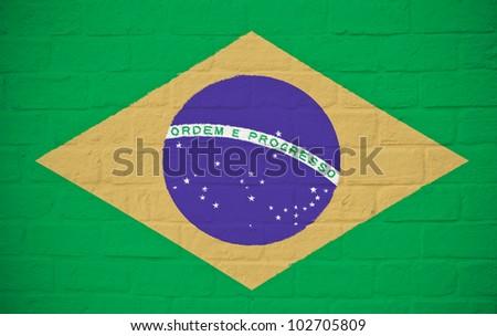 Brazil flag on brick wall