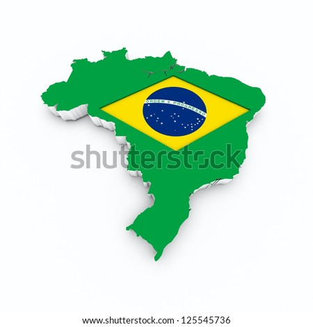 brazil flag on 3d map