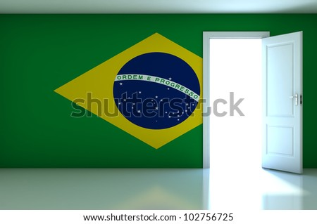 Brazil flag on empty room