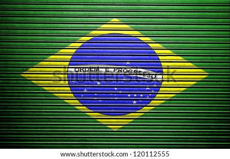 Brazil flag on metal background