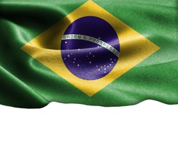 Brazil flag on smooth silk texture Space for Text