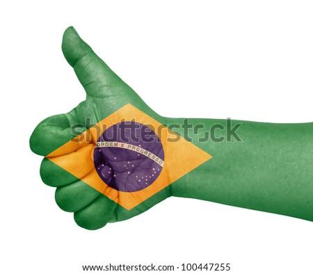 Brazil flag on thumb up gesture  like icon