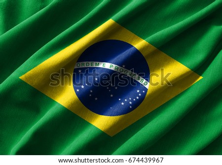 Brazil flag painting on high detail of wave cotton fabrics . 3D illustration .
