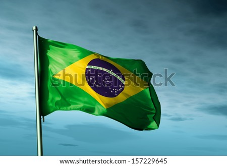 Brazil flag waving in the evening