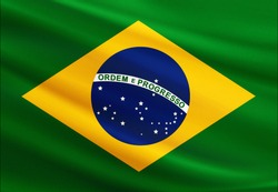 Brazil flag with fabric texture