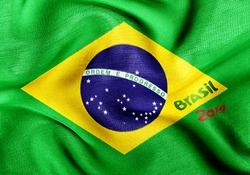 Brazil flag 2014 wrinkled