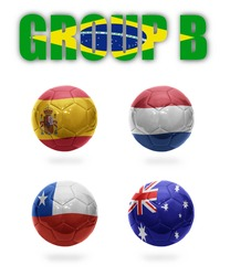 Brazil. Group B. Realistic Football balls with national flags of Spain, Netherlands, Chile, Australia