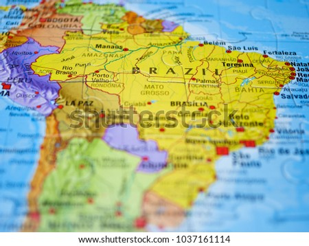 Brazil, in the South America, represented on colorful Map Mundi. Photo stock ©