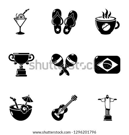 Brazil leisure icons set. Simple set of 9 brazil leisure icons for web isolated on white background