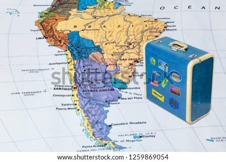 Brazil map and case with stickers (my photos) - travel background #1259869054
