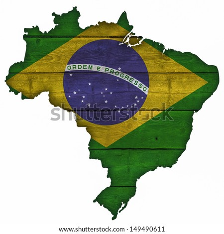 Brazil Map And Flag On Wood