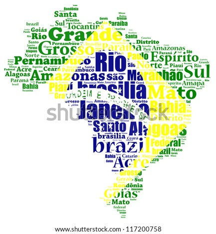 Brazil map and words cloud with larger cities