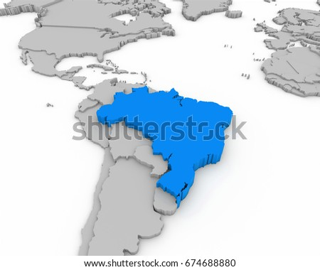 brazil map 3D illustration