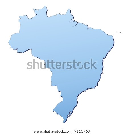 Brazil map filled with light blue gradient. High resolution. Mercator projection.