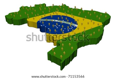 Brazil map flag with many abstract people illustration