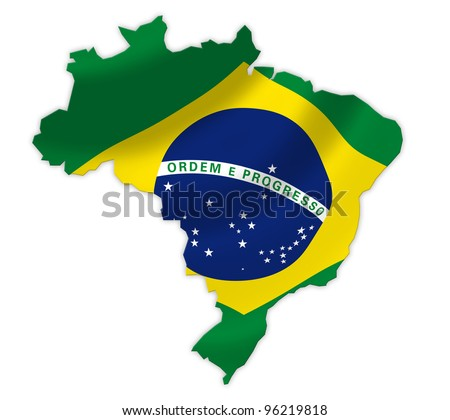 Brazil  map on a waving flag