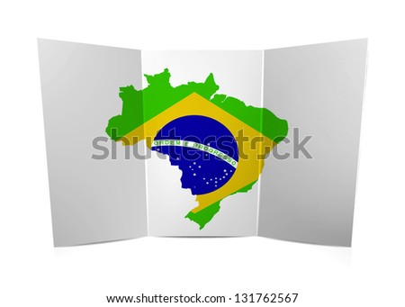 Brazil map on the folded paper
