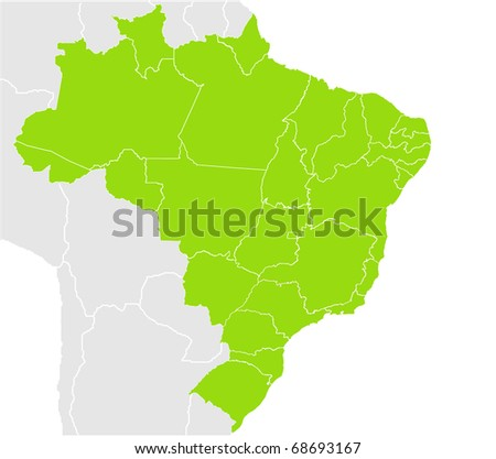Brazil map split into states or provinces, isolated on white background.