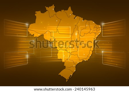Brazil Map World map News Communication delivery yellow gold
