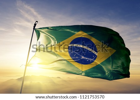 Brazil national flag textile cloth fabric waving on the top