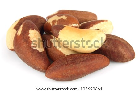 Brazil nuts on white close up