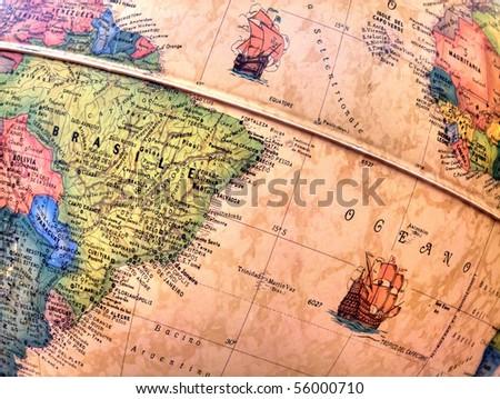 Brazil on globe.