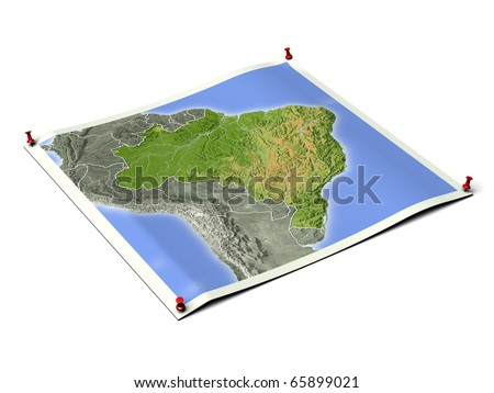 Brazil on unfolded map sheet with thumbtacks. Map colored according to vegetation, with borders. Includes clip path for the background.