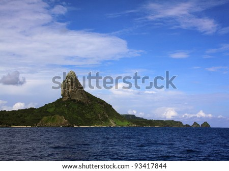 "Brazil Pernambuco State ""Fernando de Noronha"" Island nature reserve and UNESCO World Heritage site - ""Morro do Pico"" viewed from the Atlantic Ocean"
