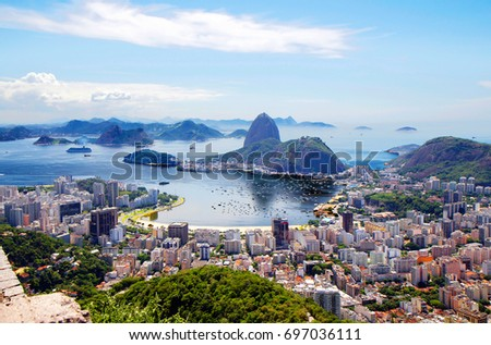 Brazil. Rio de Janeiro. General view of the city.  Rio de Janeiro is a splendor of bright colors and a perpetual carnival, the ocean and endless sun. #697036111