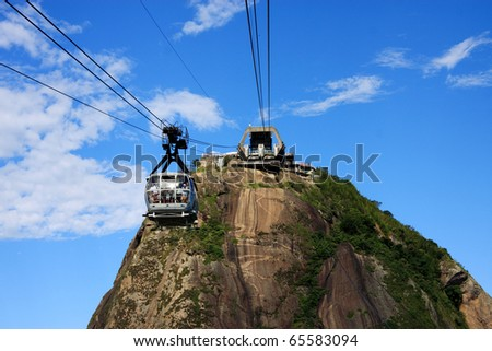 Brazil Rio de Janeiro Sugar loaf Mountain - Pao de Acucar and cable car. The city is the venue for the 2016 Olympic Games.