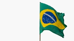 Brazil's flag. White background. National symbol. The Brazilian flag is composed of a green rectangle, a yellow diamond, a blue circle and 27 white stars