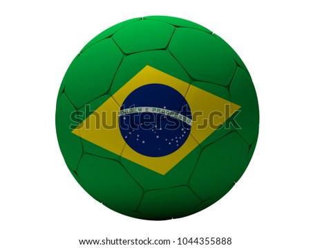 Brazil soccer football ball 3d rendering