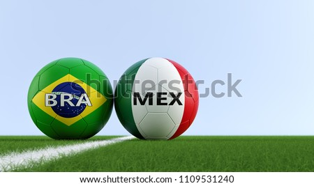 Brazil vs. Mexico Soccer Match - Soccer balls in Brazils and Mexicos national colors on a soccer field. Copy space on the right side - 3D Rendering