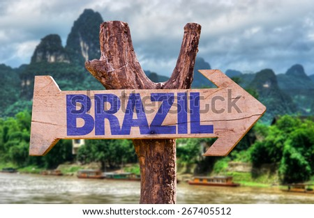 Brazil wooden sign with forest background