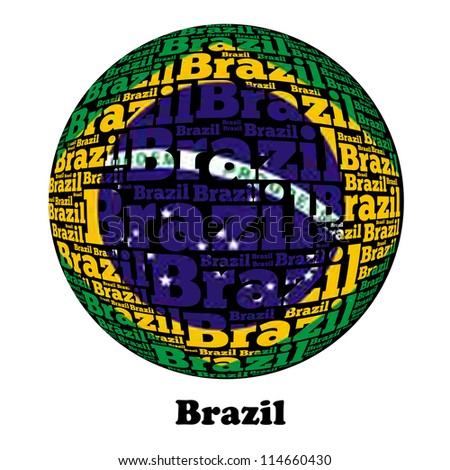 Brazil Word Text Flag ( World Text Flag Series )