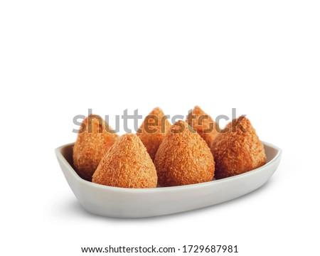 Brazilian appetiser deep fried chiken sttufed croquette - Coxinha de frango Stock photo ©