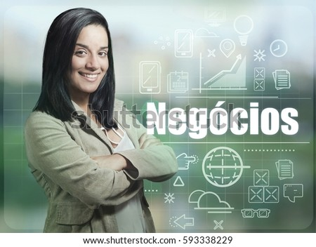 Shutterstock brazilian brunette business woman, smiling casual, word negocios with icons