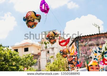 Brazilian carnival masks hanged up. - Sao Paulo/ Brazil.  #1350588890