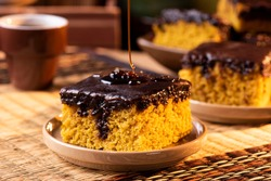 Brazilian carrot cake with chocolate topping.