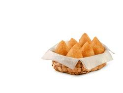 Brazilian chicken croquette coxinha de frango - Isolated in white background
