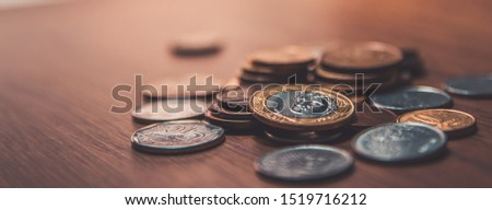 Brazilian coins background. Real coins and cent coins. Money from Brazil. Coins of Real, Brazilian currency.