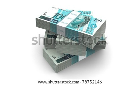 Brazilian currency bills packs on stack. Clipping path included.