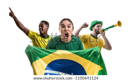 Brazilian fan friends celebrating - Shutterstock ID 1100641124