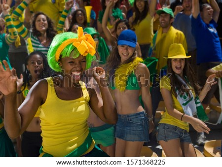Brazilian fans at soccer game in Cape Town, South Africa