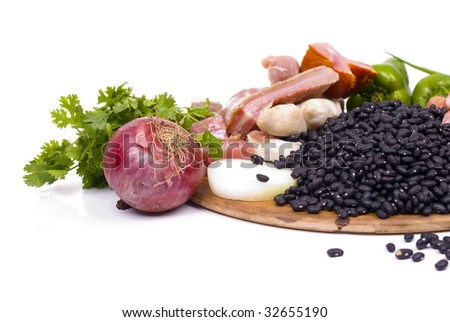 Brazilian Feijoada raw fresh Ingredients  .
