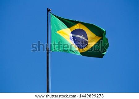 Brazilian flag Brazil blue sky background