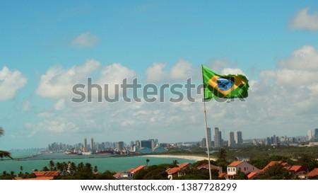 Brazilian flag Brazilian beaches Recife Pernambuco